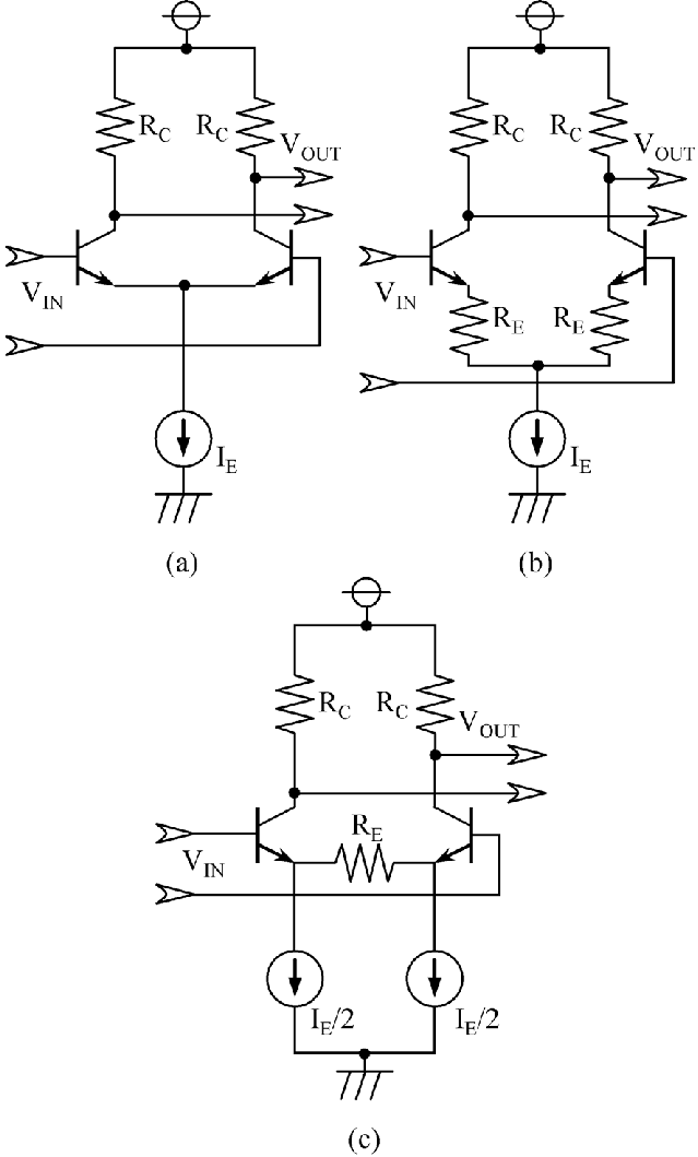 (a) Simple differential amplifier, (b) emitter