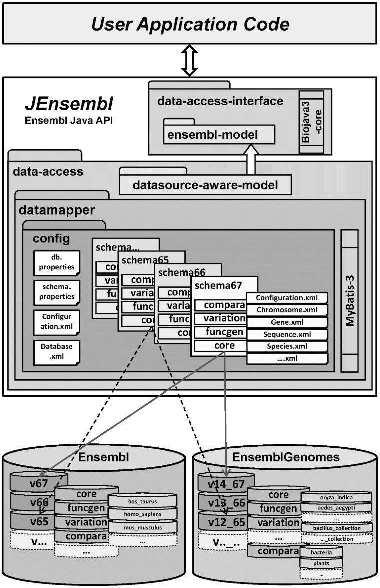 hight resolution of schematic diagram of the modular jensembl architecture where schema versioned mybatis