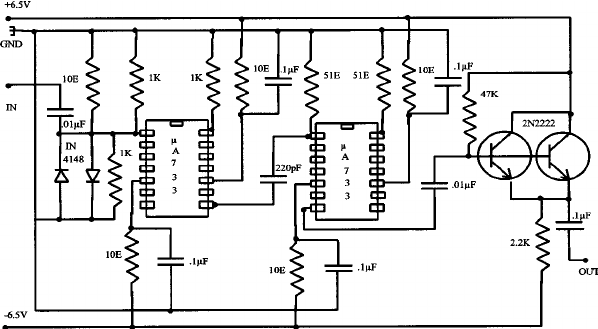 Circuit diagram of fast scintillation detector
