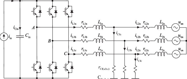 Circuit diagram of a three-phase grid-connected VSI-based