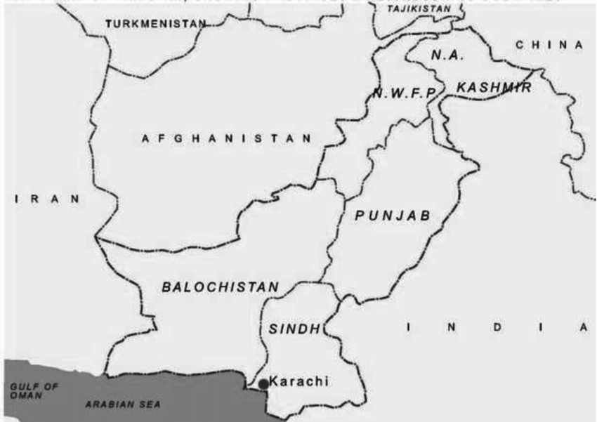 Map of Pakistan showing provinces and neighbouring