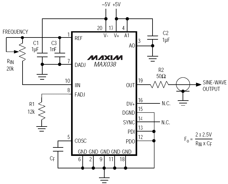 Voltage Controlled Oscillator (VCO) using MAX038 IC
