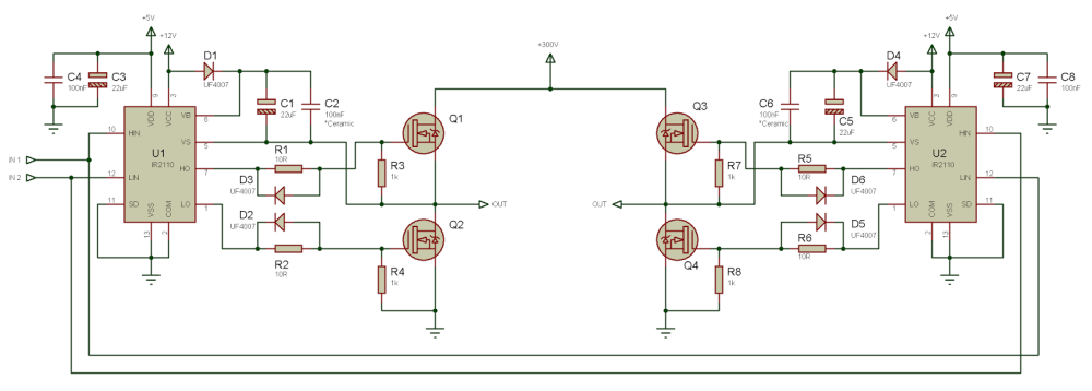 medium resolution of i am using ir 2110 driver circuit to drive mosfet switches of h bridge but as my input voltage increases the pulses get distorted