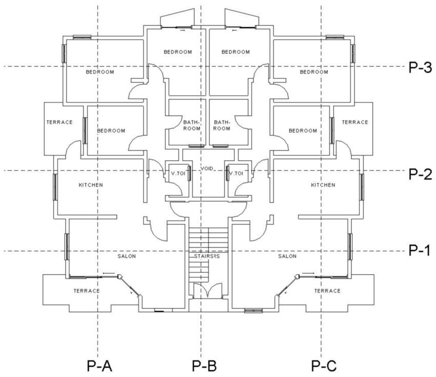 The ground floor plan of the simulated apartment