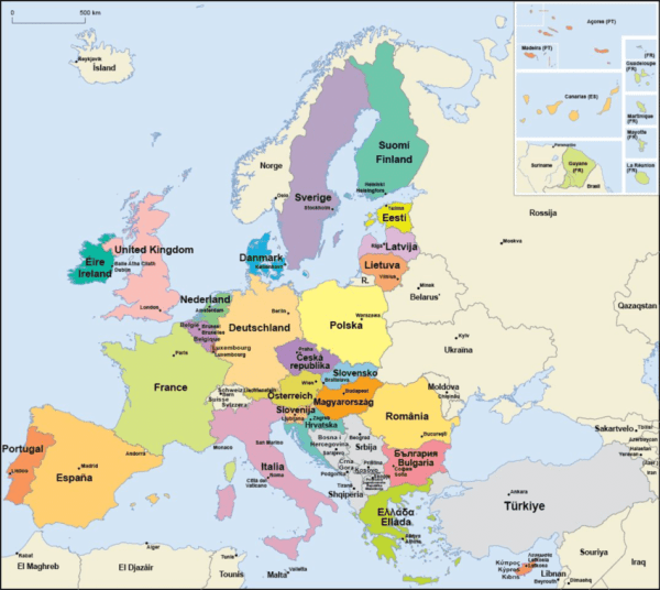 Current 28 Member States of the European Union in color