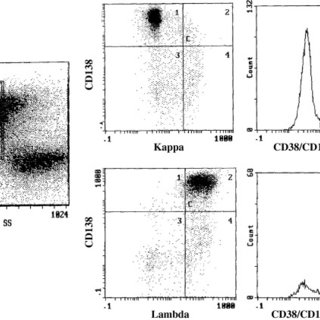 Three-color flow cytometry analysis. Side scatter vs. CD38