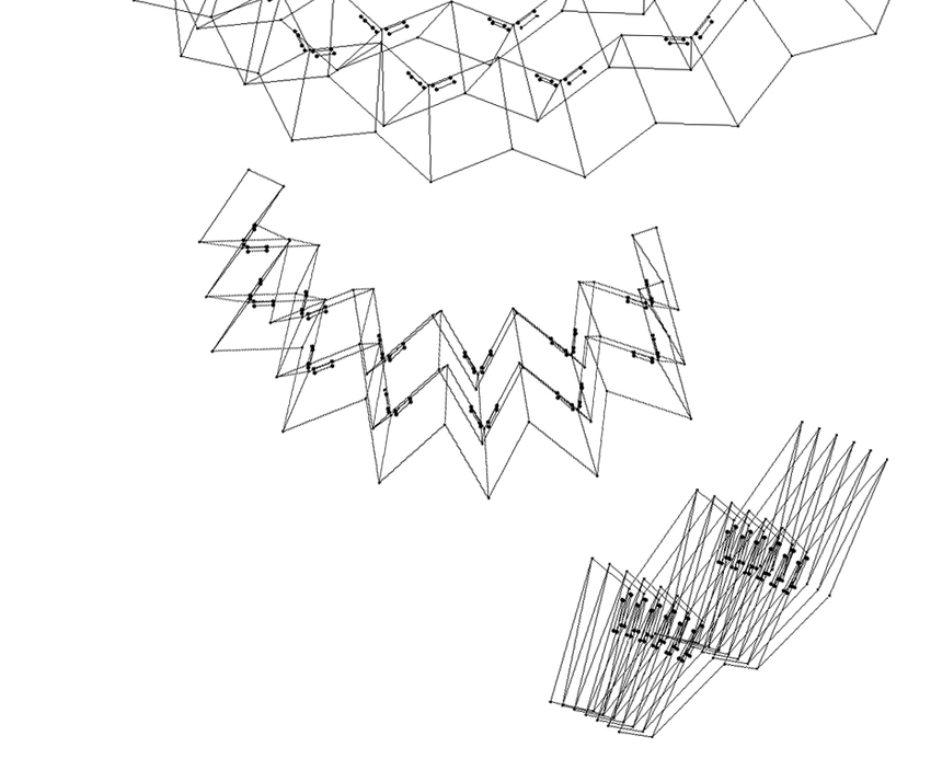 Folding process of a system approximating a surface with