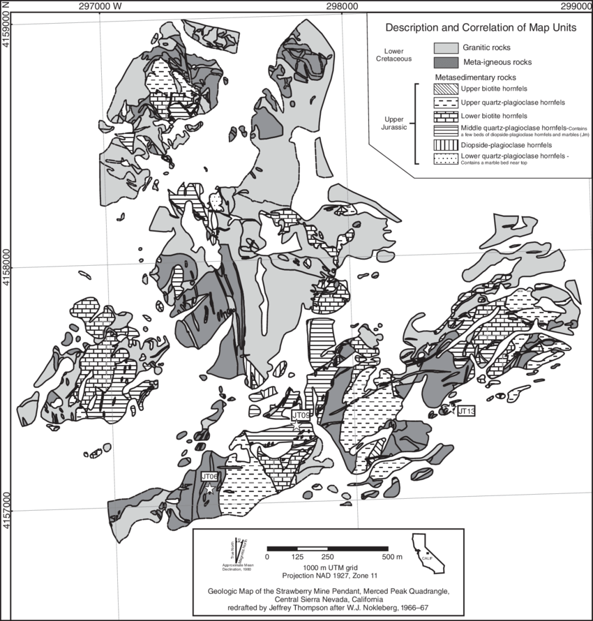 Geologic map of the Strawberry Tungsten Mine pendant after