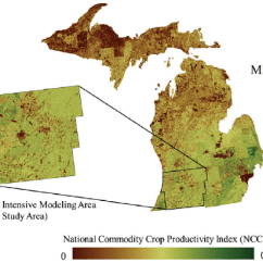 Soil Profile Diagram Of Michigan 2006 Cobalt Alternator Wiring National Commodity Crop Productivity Index Map For A And B Study Area Soils With The Most Suitable Characteristics Production Exhibit
