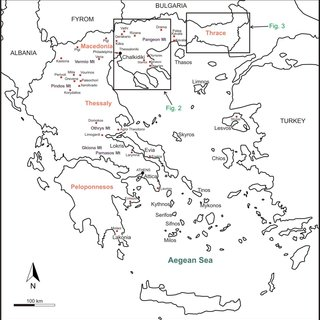 Simplified geological map of the Rhodope metallogenic