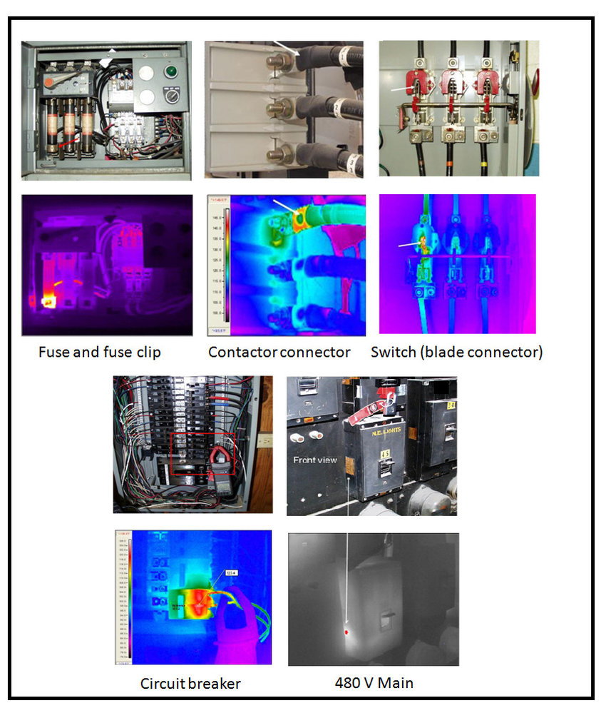 hight resolution of examples of infrared thermal images the common electrical problems as colored anomaly in the infrared