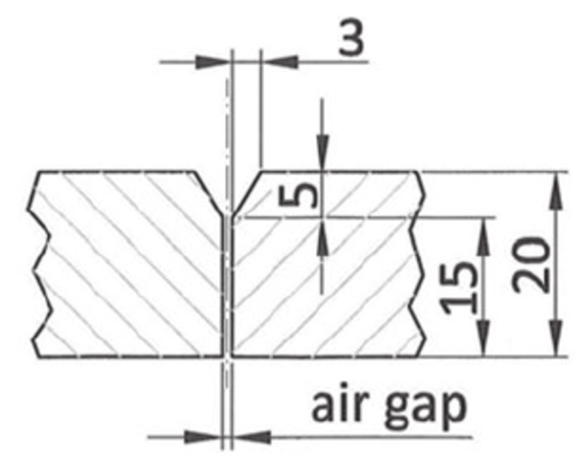 Groove preparation used in the welding experiments. Three