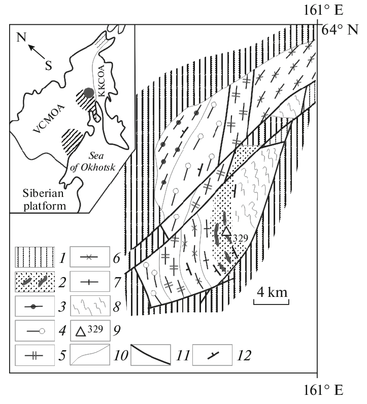 Schematic geologic map of the Aulandzha Block, compiled by