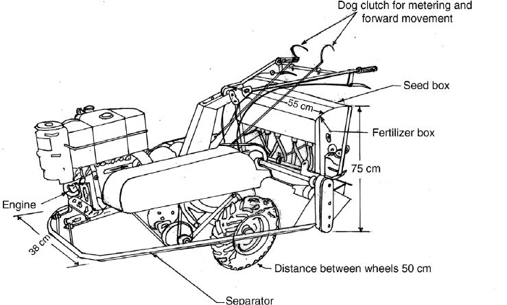 Line sketch of a two-wheel drive self-propelled relay