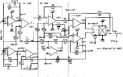 Electronic schematics. The circuit is divided into three