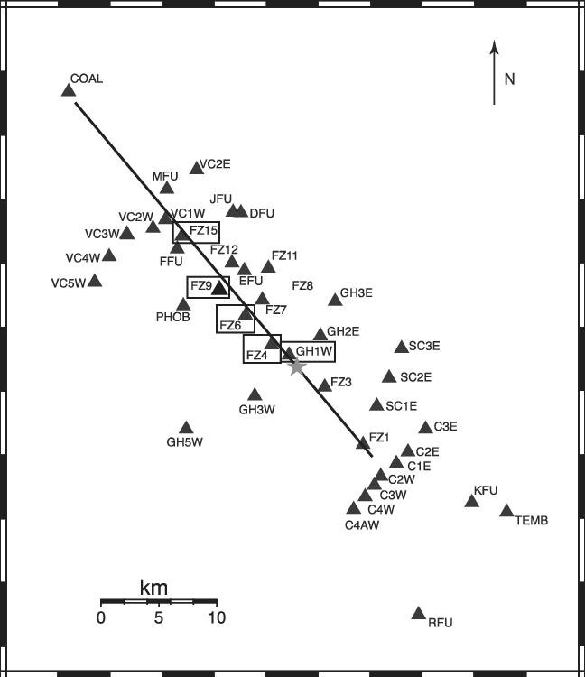 Most of the seismic stations (black triangles) deployed
