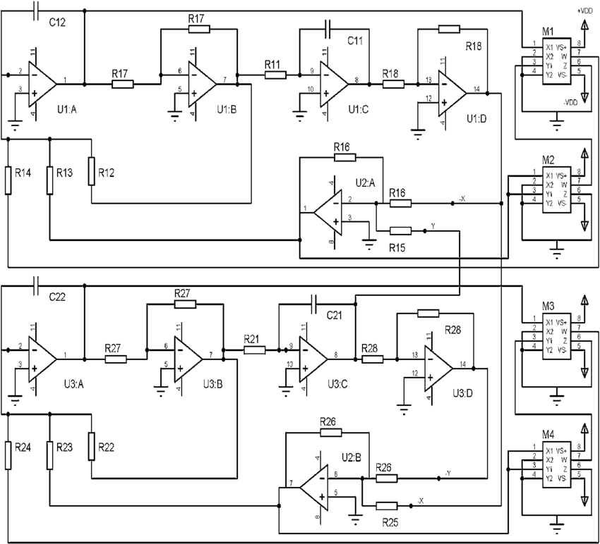 Schematic diagram of the complete analog simulator. The