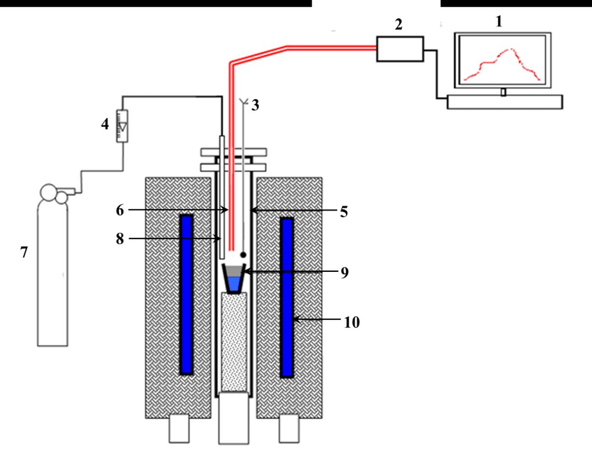Schematic representation of the experimental set up; (1