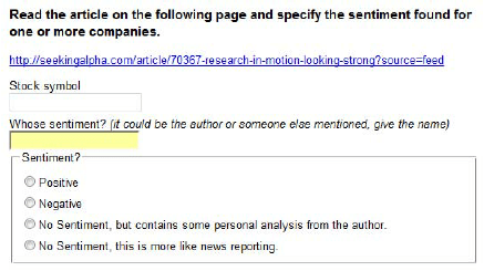 An Example Of A Micro Task Submitted To The Amazon Mechanical Turk