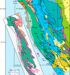 map showing location and geologic setting of the franciscan coastal belt in the northern california coast [ 850 x 1219 Pixel ]