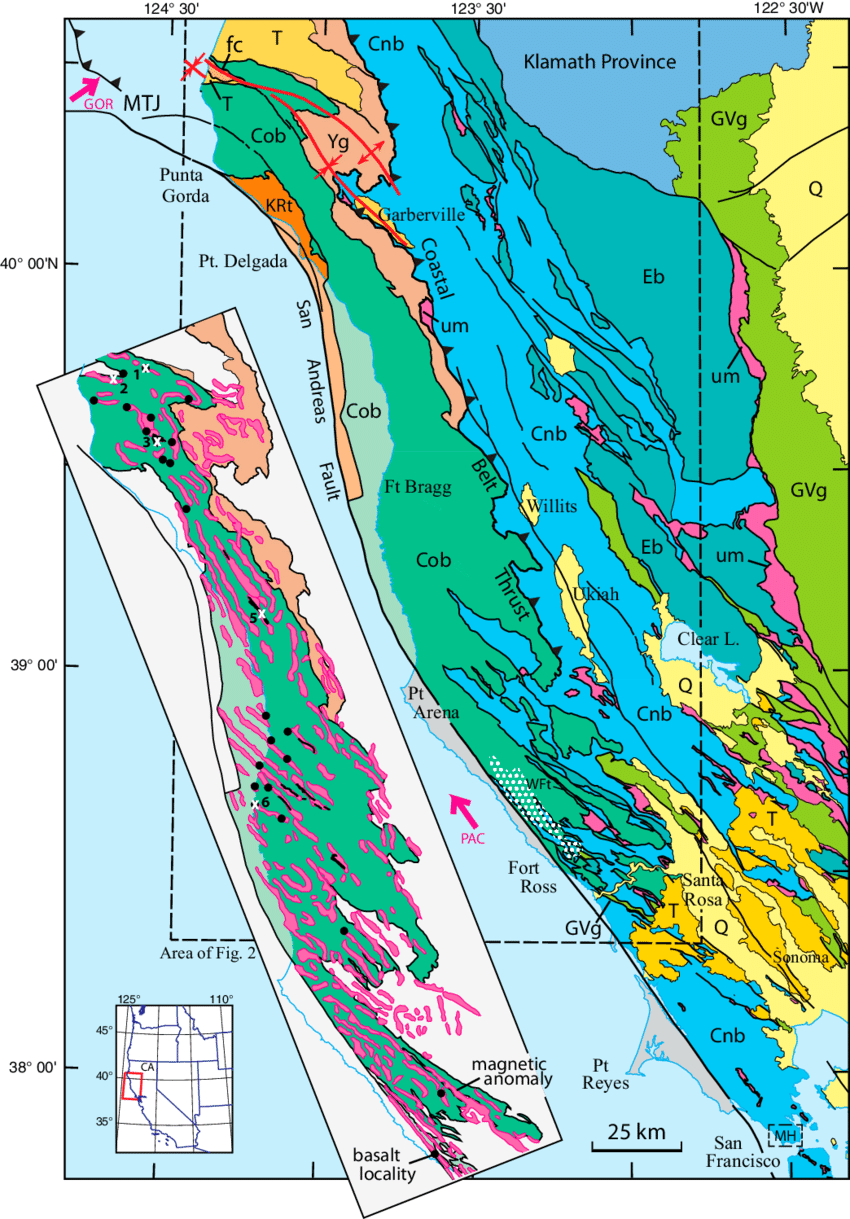 medium resolution of map showing location and geologic setting of the franciscan coastal belt in the northern california coast