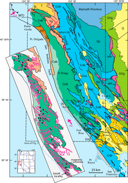 small resolution of map showing location and geologic setting of the franciscan coastal belt in the northern california coast