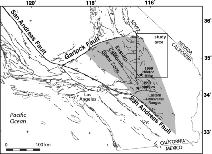 Index map showing study area within the Eastern California