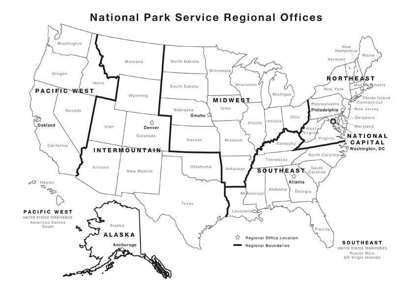 Map showing the seven regions of the U.S. National Park