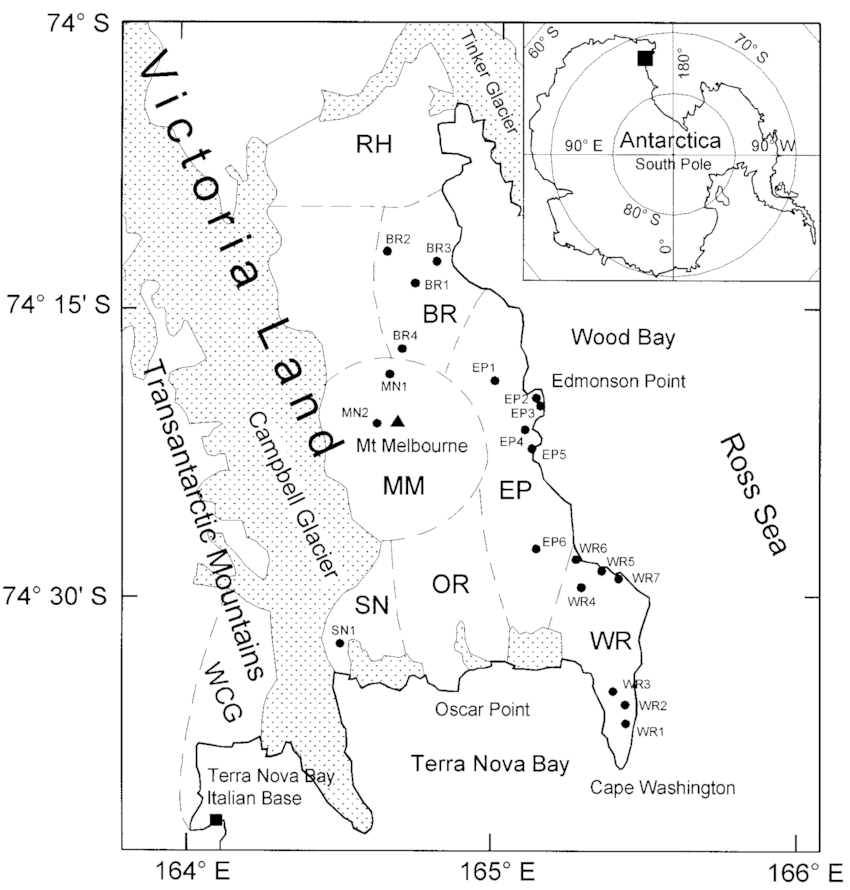 Sketch map of the Mt Melbourne Volcanic Field showing