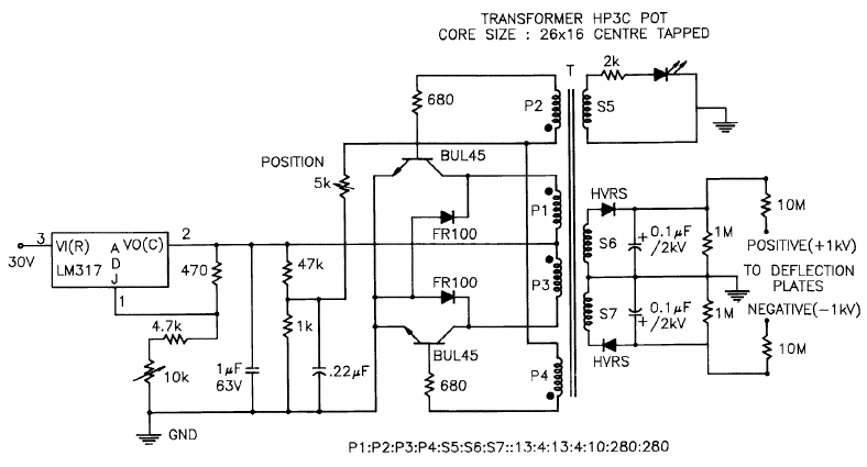 Circuit diagram of ± 1 kV SMPS for positioning the