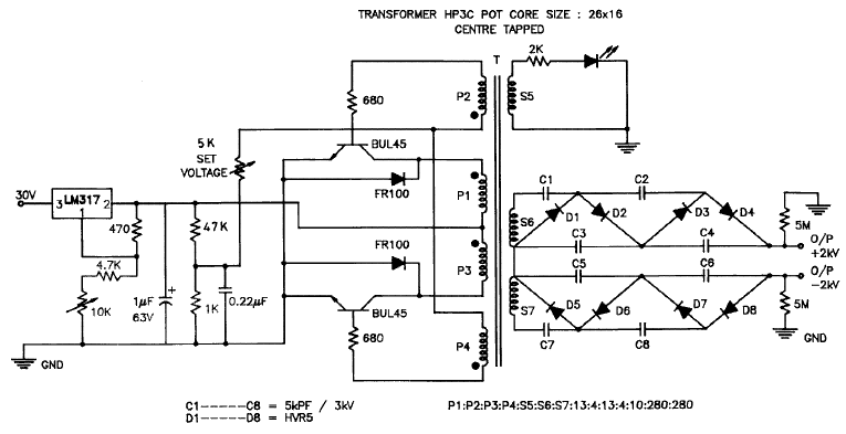 Circuit diagram of ± 2 kV SMPS for biasing sweep circuitry