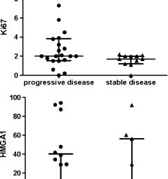 upper diagram scatter dot plot comparing ki 67 li values between growing tumor remnants and [ 850 x 1141 Pixel ]