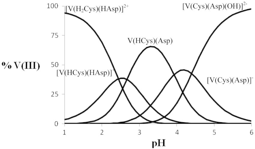 Species distribution diagram for the vanadium(III)-H2Cys