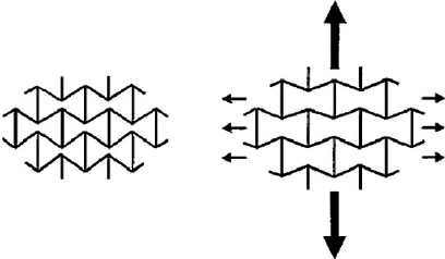 Illustration of auxetic behavior on reentrant structures