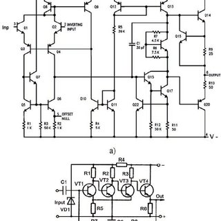 Circuit diagrams of two amplifiers: at the top of a widely