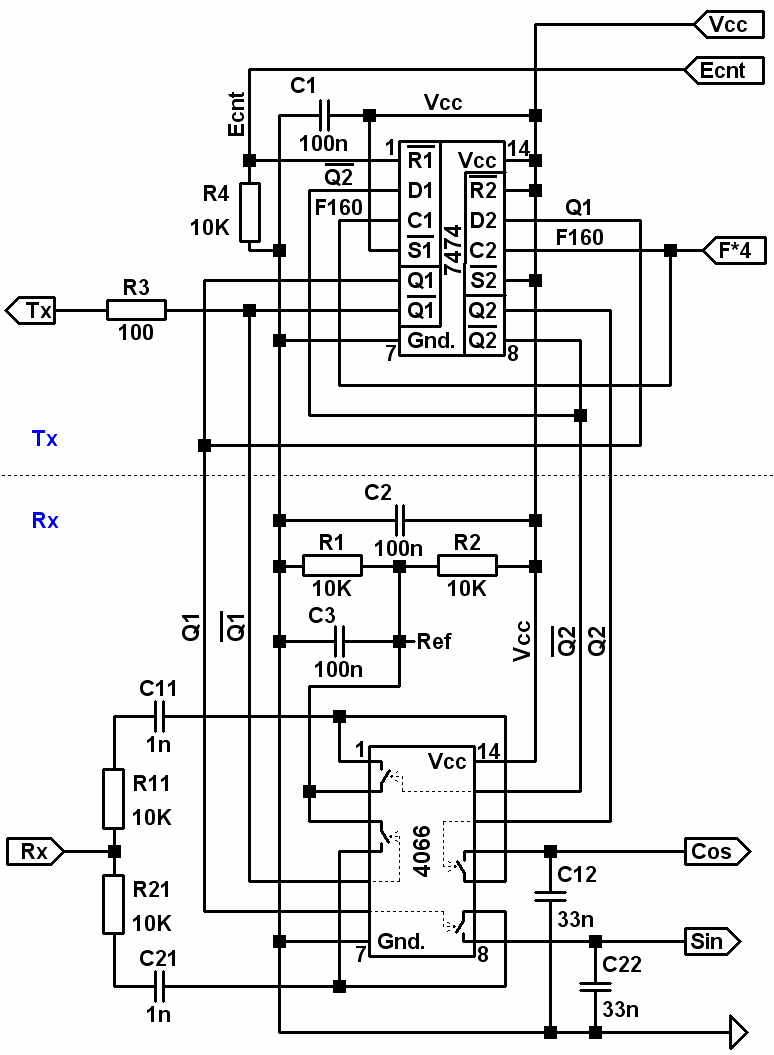 hight resolution of synchronous phase detector schematic elements 7474