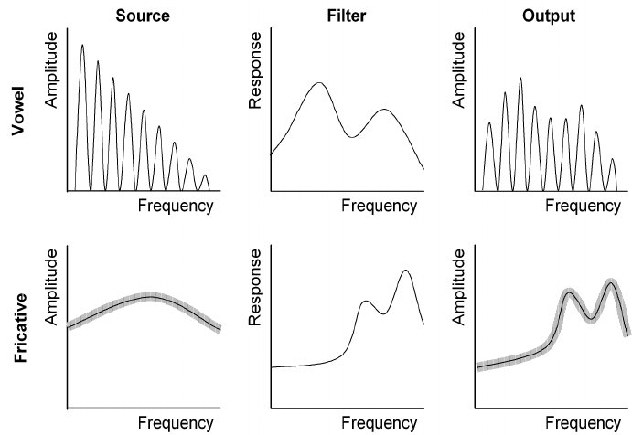 Frequency domain diagram of the source-filter explanation