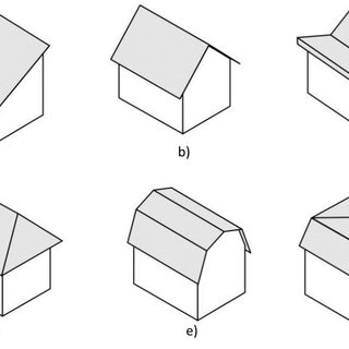 Examples of the main types of the building roofs: a) shed