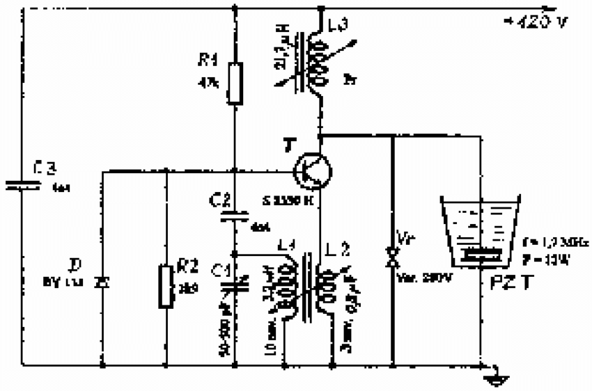 Electrical circuit of oscillator F ≈ 1.7 MHz, P ≈ 12 W