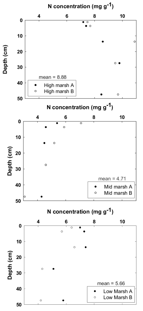 small resolution of nitrogen profiles for cores from high mid and low marsh environments in the king s landing