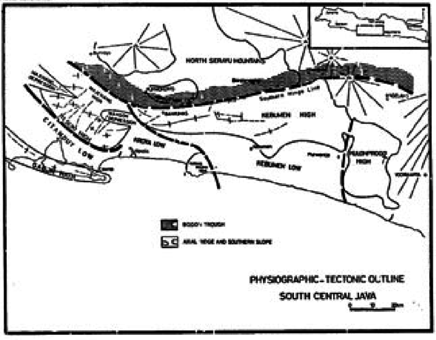 Physiographic-tectonic outline south central Java (After