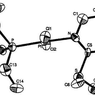 ORTEP [13] view of trans-[PtCl 2 (PEt 3 )(PySOPr-n)] (2