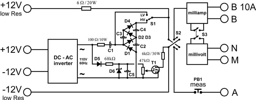 Schematic diagram of the resistivimeter. Notice the DC-AC