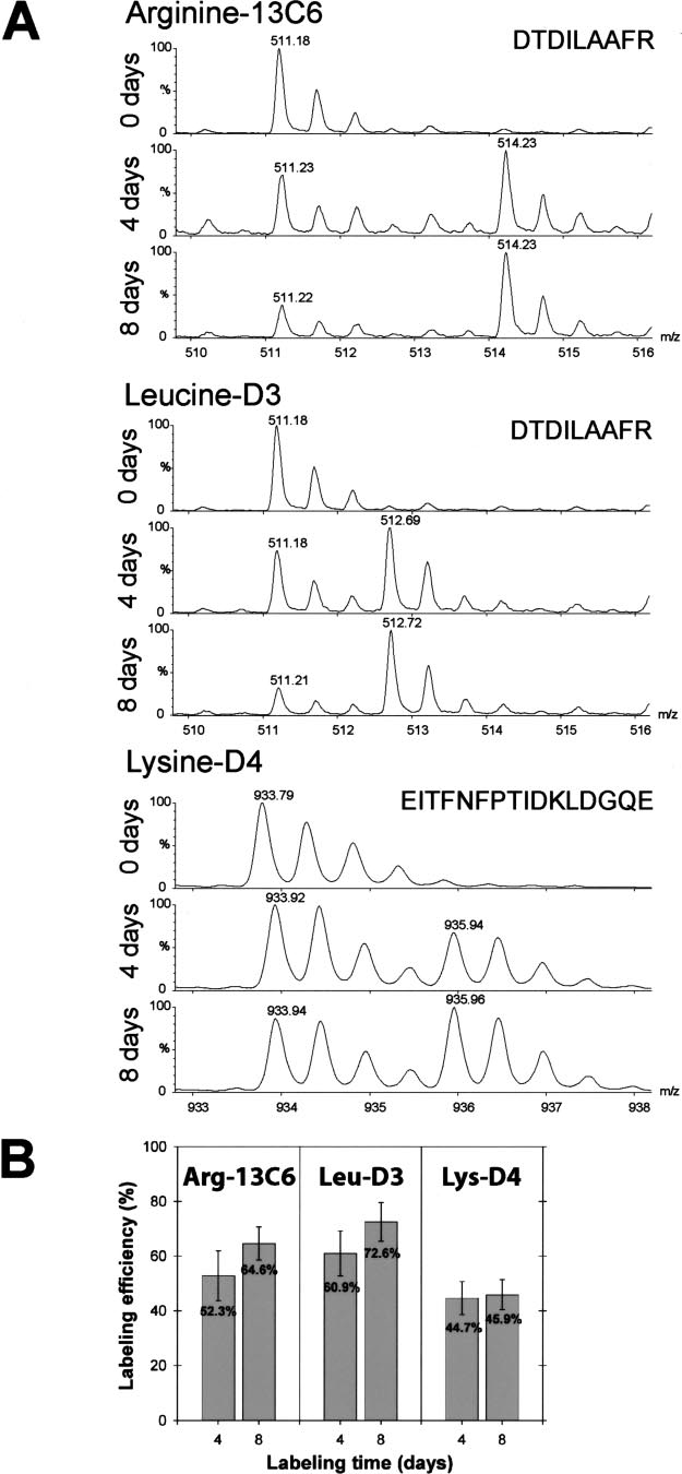 hight resolution of stable isotope labeling of arabidopsis suspension cells with different amino acids a incorporation rate