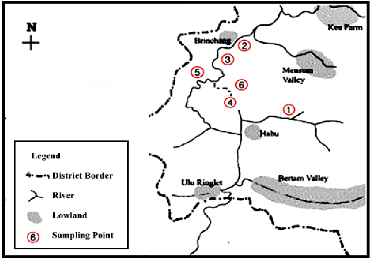Location on map sampling site, Bertam River in Cameron