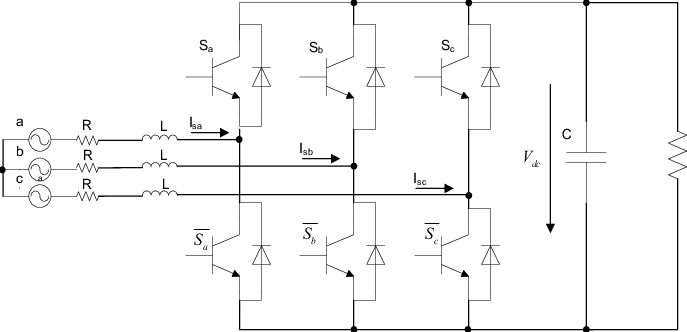 Mathematical model of SVPWM AC-DC converter circuit