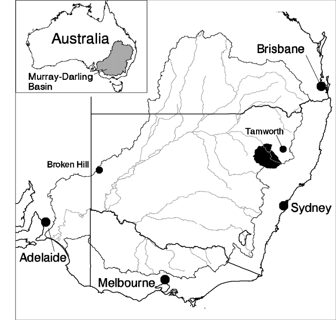 Location Map of the Liverpool Plains. The catchment is in