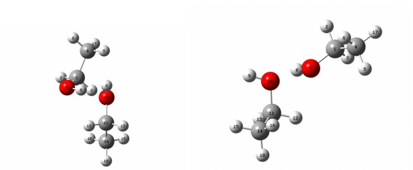 gauche-trans (left) and trans-gauche (right) ethanol dimer