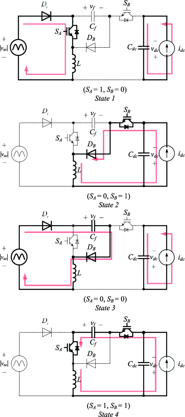 hight resolution of equivalent circuits of the two switch buck boost pfc rectifier during state 1