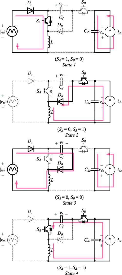 small resolution of equivalent circuits of the two switch buck boost pfc rectifier during state 1